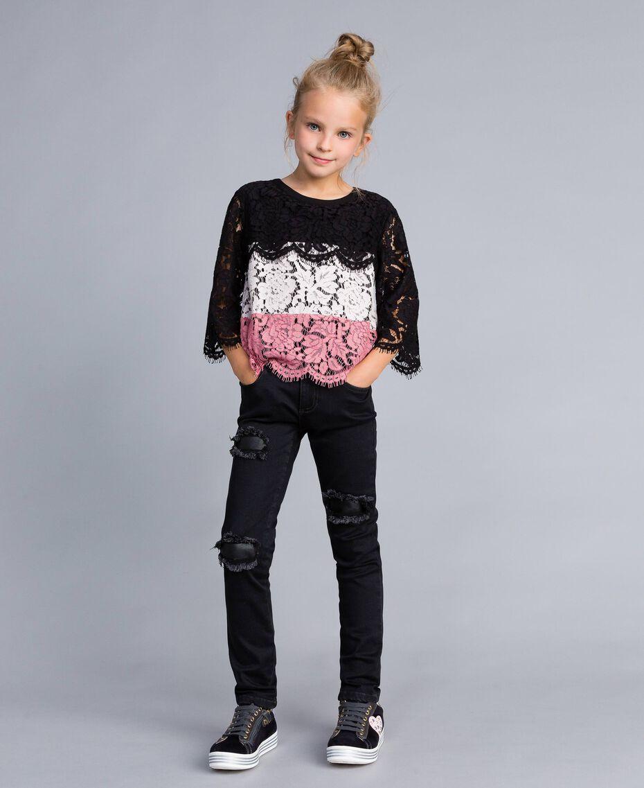 Ripped black denim jeans Dark Grey Denim Child GA82UC-0S