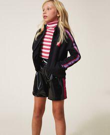 Shorts in Lackoptik Zweifarbig Schwarz / Pink Gloss Kind 202GJ213B-0T