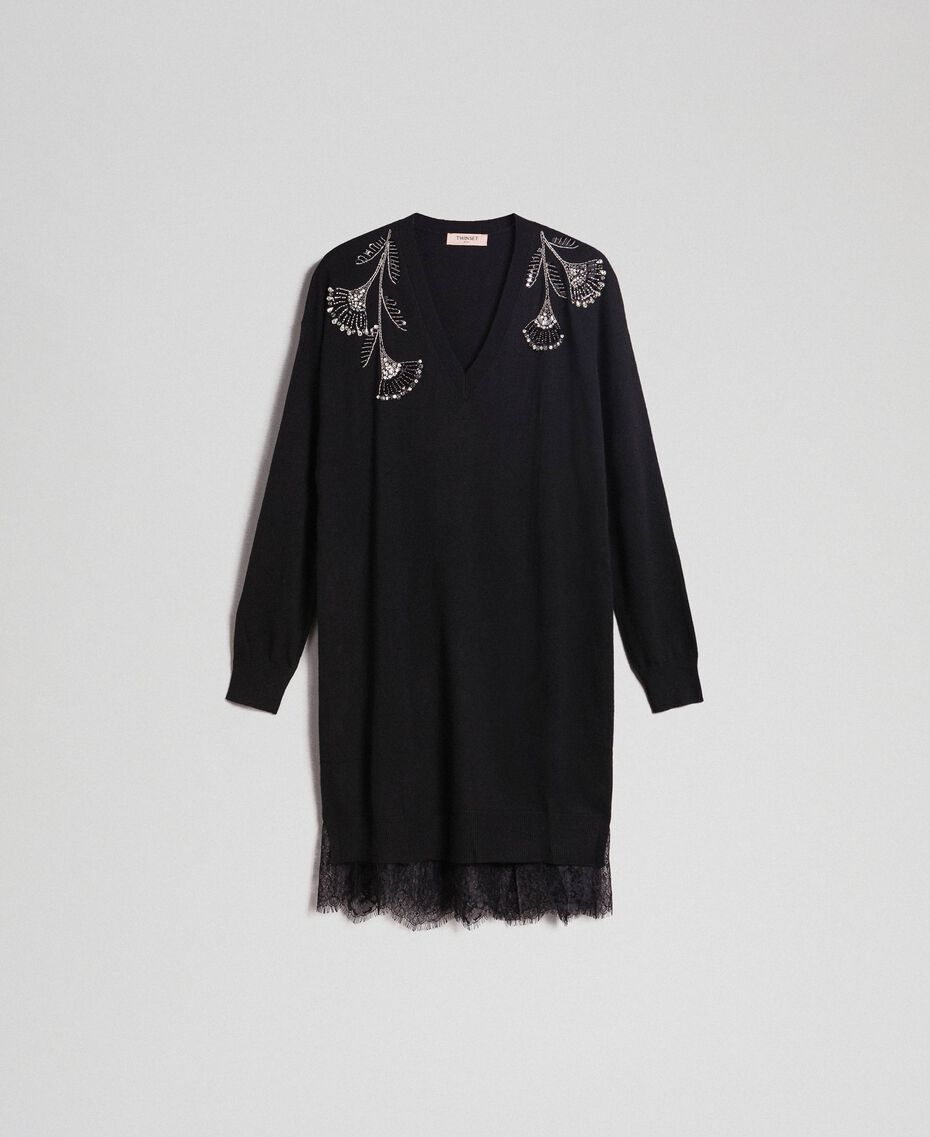 Cashmere and wool dress with embroidery and slip Black Woman 192TP3331-0S
