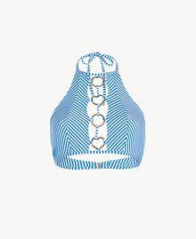 Bikinioberteil mit Streifen Lurexstreifen Lagunenblau Frau MS8CYY-01