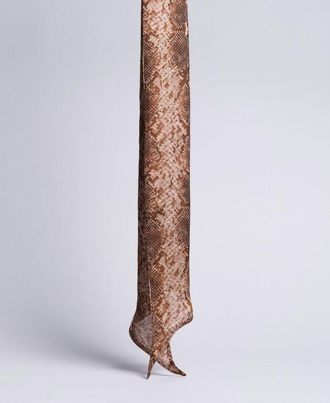 Animal print silk scarf Chocolate Snake Print Woman AA8P15-01