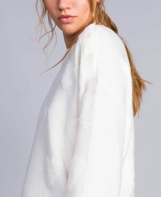 Pull en laine mélangée avec incrustation de cœurs Nacre Femme JA83E1-01