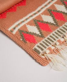 """Jacquard knit scarf with bezels and feathers """"Nude Pink"""" Fair Isle Jacquard Woman 192TO537J-02"""