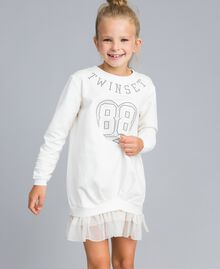 Maxi sweat en viscose avec perles et tulle Off White Enfant GA82U1-04
