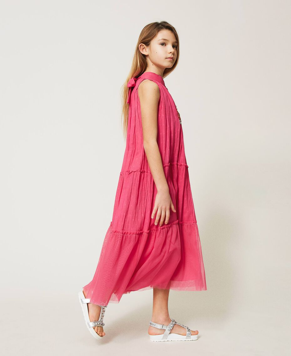 """Muslin long dress with patch embroidery """"Fuchsia Purple"""" Pink Child 211GJ2QC2-02"""