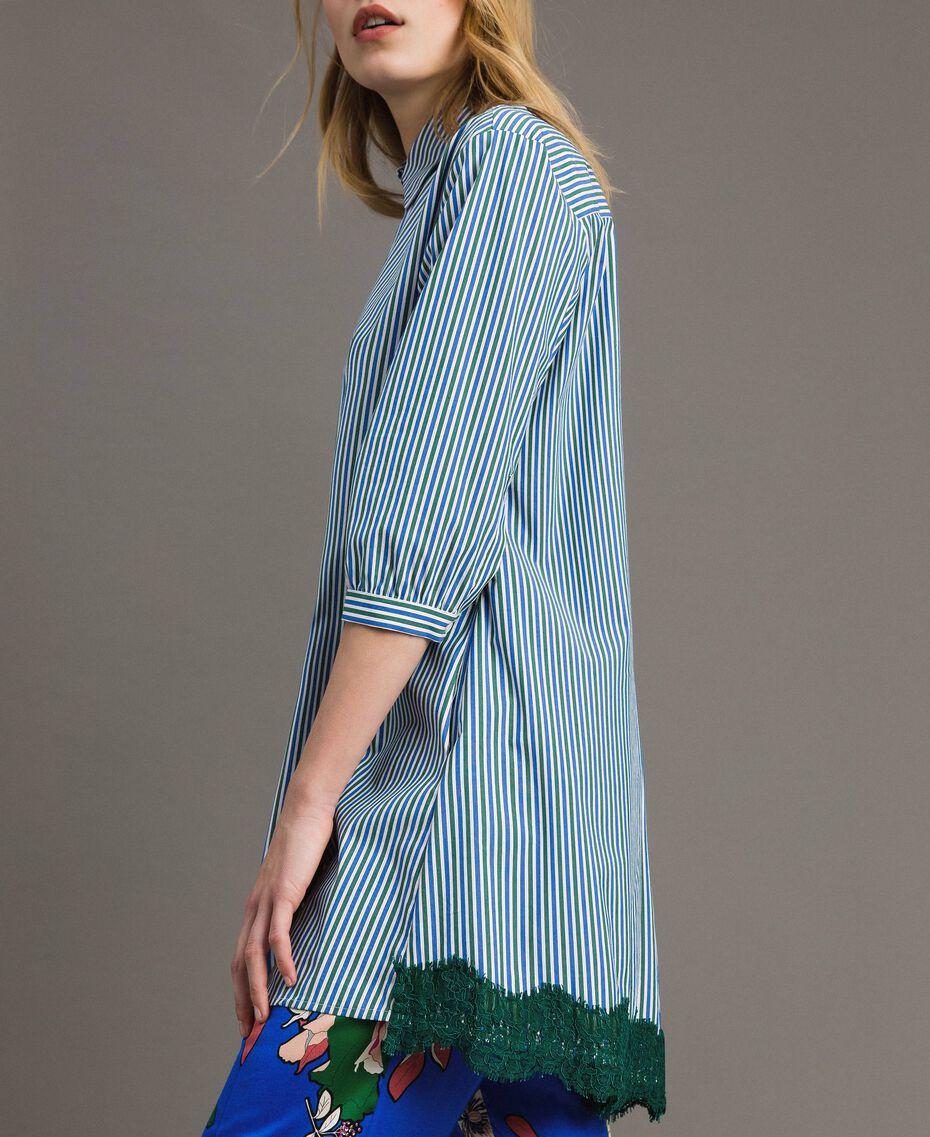 """Maxi camicia in popeline a righe con pizzo Rigato Bluette / Verde """"Evergreen"""" Donna 191TP2314-02"""
