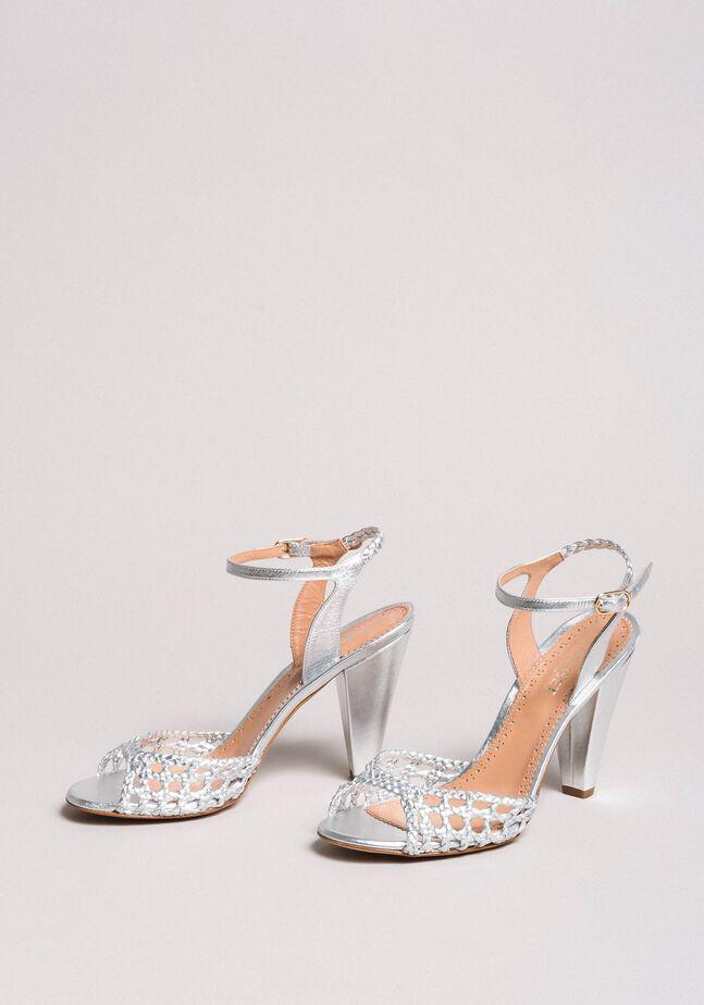 Sandales en cuir tressé laminé