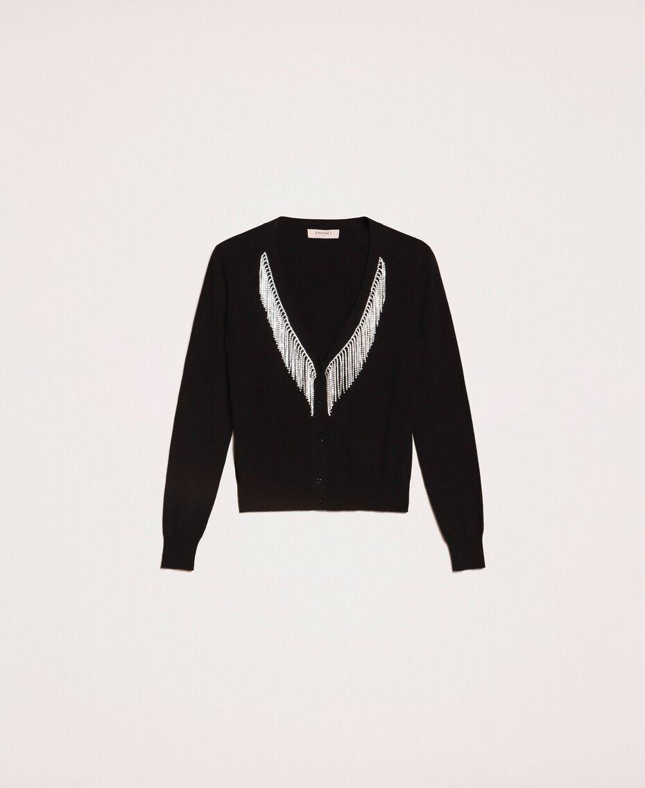 Cardigan with rhinestone fringes Black Woman 201TP3083-0S