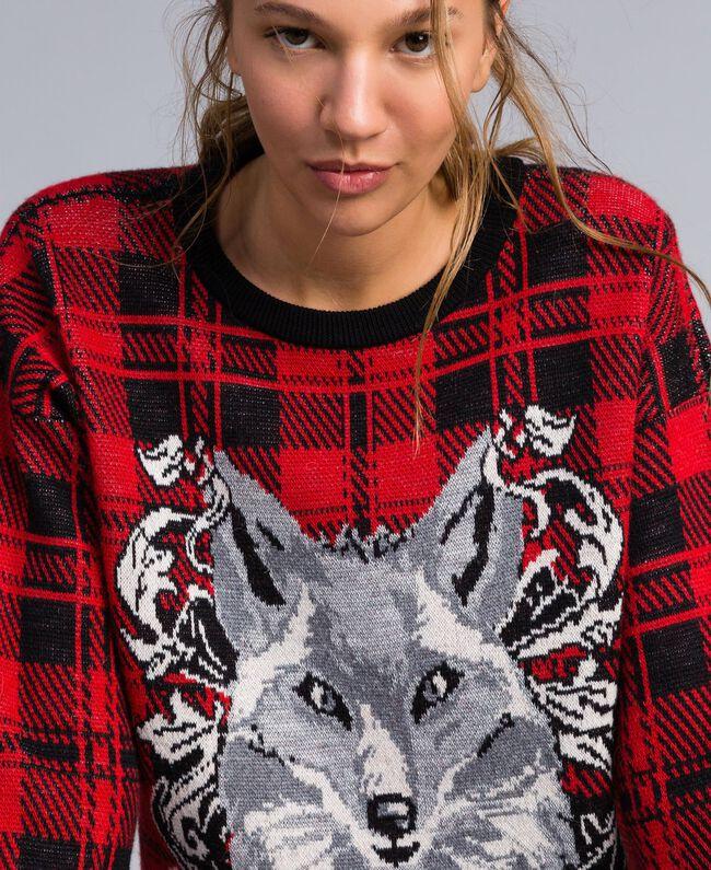 """Maxi check jacquard jumper """"Poppy"""" Red / Black Check Wolf Jacquard Woman YA83HN-04"""