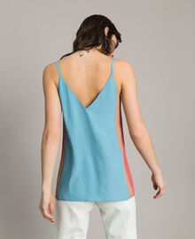 "Top with multicolour panels Multicolour ""Tender Rose"" Pink / Daylight Blue / Porcelain Beige Woman 191LM2HJJ-03"