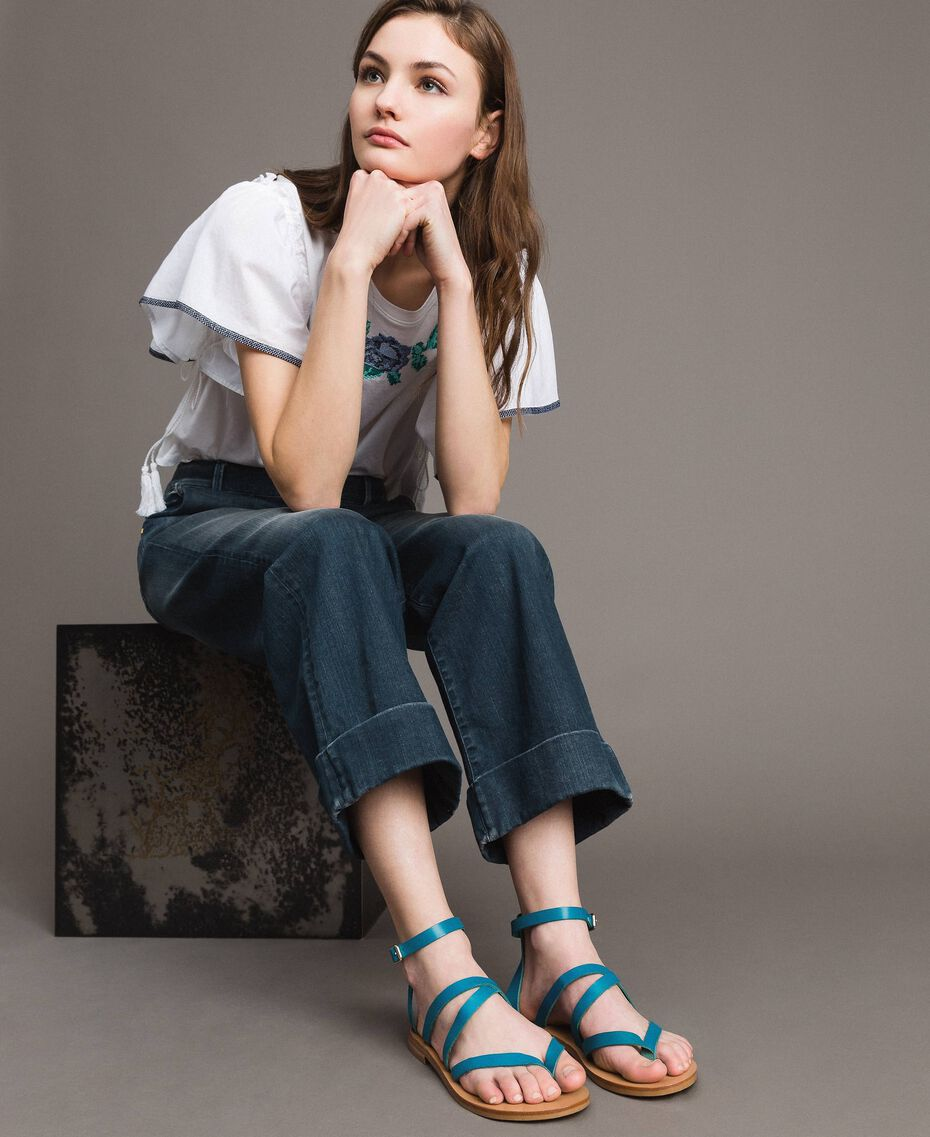 Leder-Sandalen mit Riemchen Keramikblau Frau 191TCT09U-0S