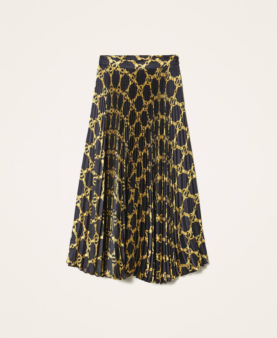 Pleated skirt with chain print Black / Gold Large Chain Print Woman 202TT2212-0S