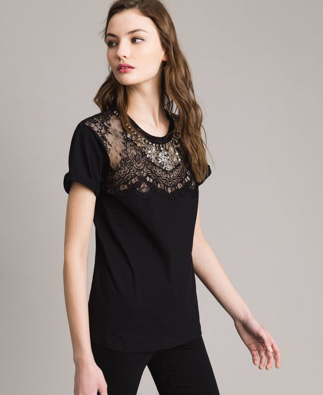 Lace and rhinestones T-shirt Black Woman 191TP2603-03