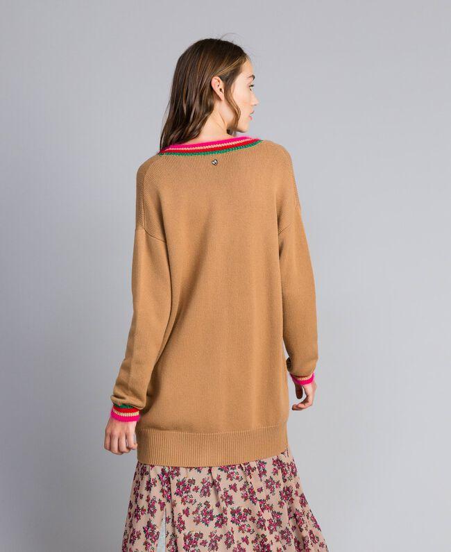 Maxicardigan aus Wollmischung mit Intarsien Karamell Frau YA83AN-03