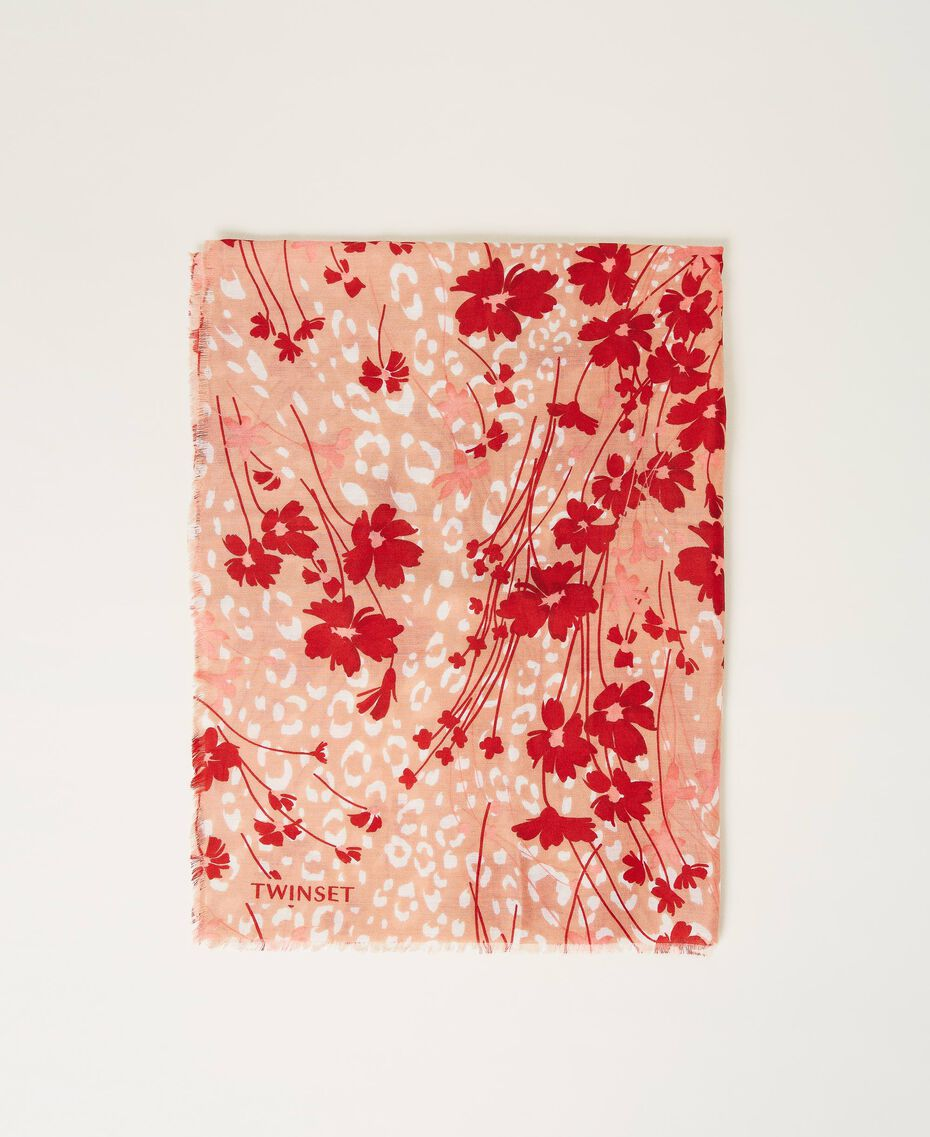 """Printed stole with fringes Peach / """"Cherry"""" Red Flowers Animal Print Woman 202TA4407-01"""
