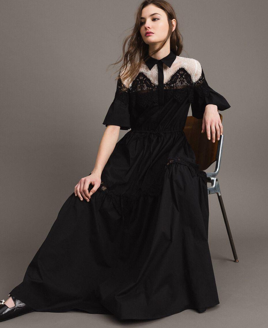 Robe chemise longue en popeline ornée de dentelle Noir Femme 191TT2122-01