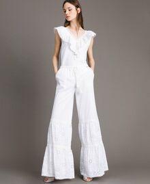 Pantalon en broderie anglaise avec cordon à la taille Blanc Femme 191MT2034-01