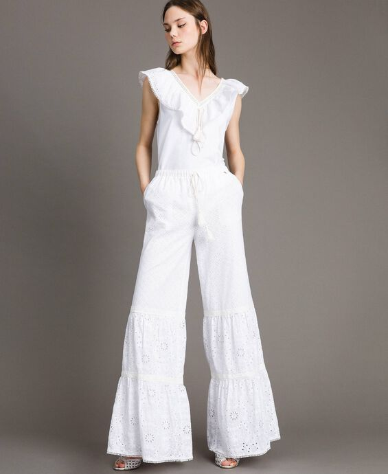 Broderie anglaise trousers with drawstring