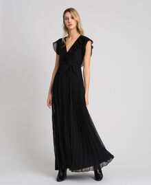 Pleated georgette long dress Black Woman 192TT2070-02