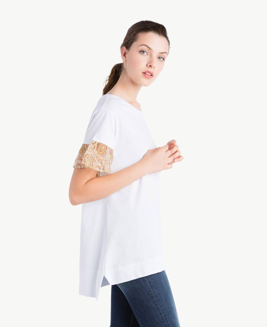 T-shirt with lace sleeves White Woman NS82AQ-02