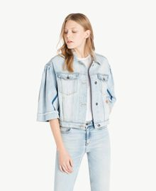Cropped denim jacket Denim Blue Woman JS82T5-01