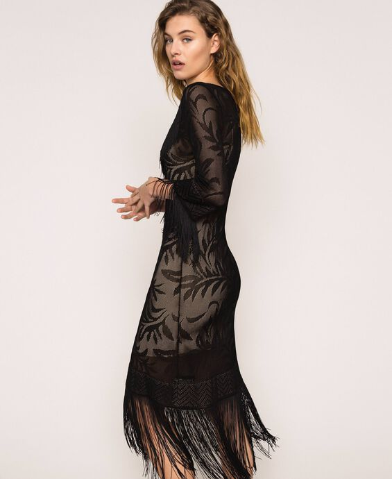 Lace stitch dress with fringes