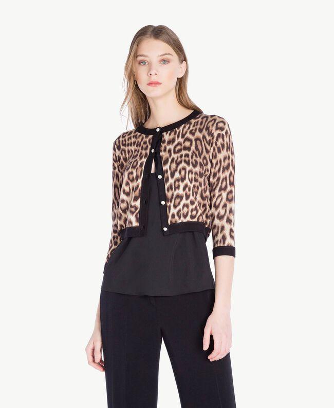 Jacke mit Perlen Leopardenprint Frau PS83LD-01
