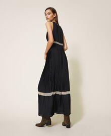 Длинное плиссированное платье с кружевом Черный женщина 202TP2133-04