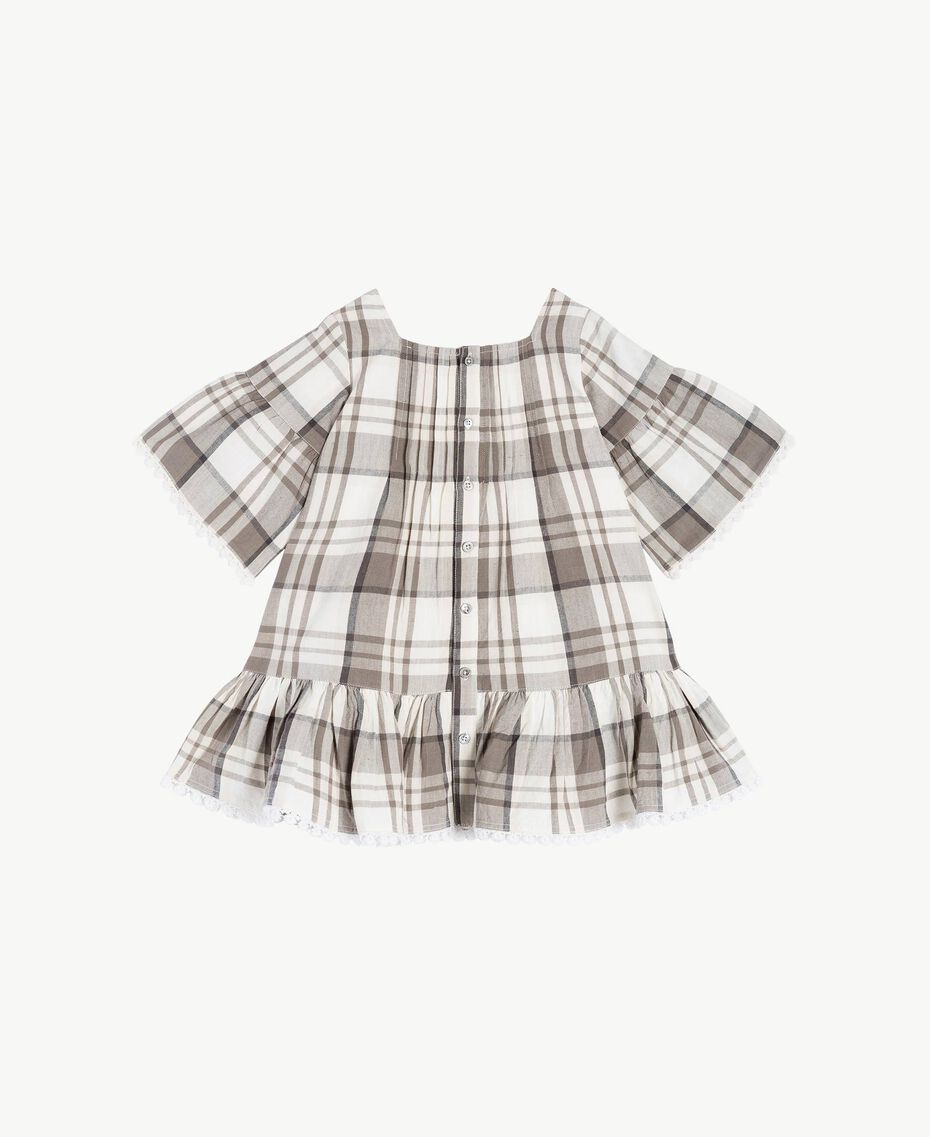 Kleid mit Karomuster Karo-Jacquard Chantilly / Rauchgrau Kind FS82JB-02