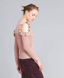 Pullover aus Lurexjacquard mit Rüschen Hellrosa / Lurex Frau PA834E-02