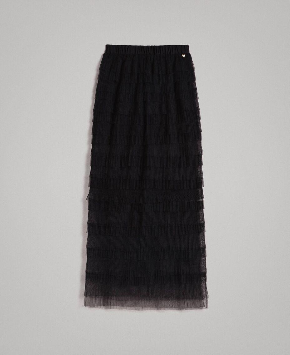 Long jupe plissée à volants Noir Femme 191MP2232-0S