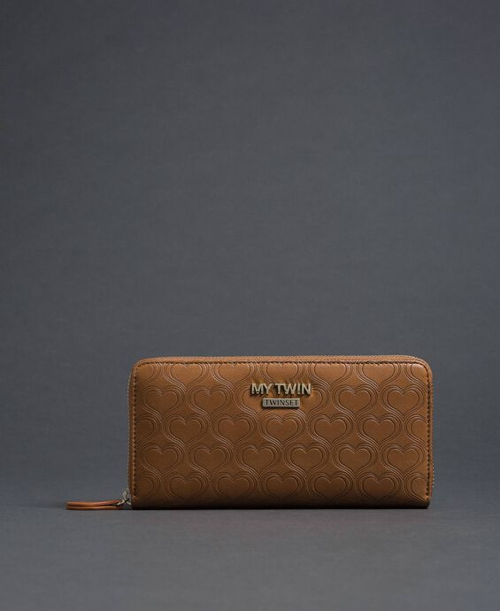 Heart print faux leather wallet