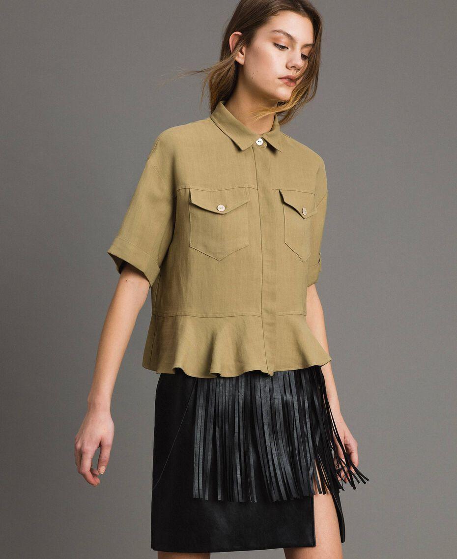 Рубашка из натуральной парусины с оборкой Антикварный Бронзовый женщина 191TT2441-01