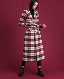 Manteau long en laine à carreaux Jacquard Grand Tartan Femme 192TP2611-03