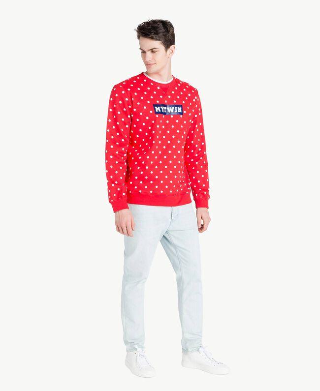 Sweatshirt mit Tupfen Geranienrot Mann US8252-05