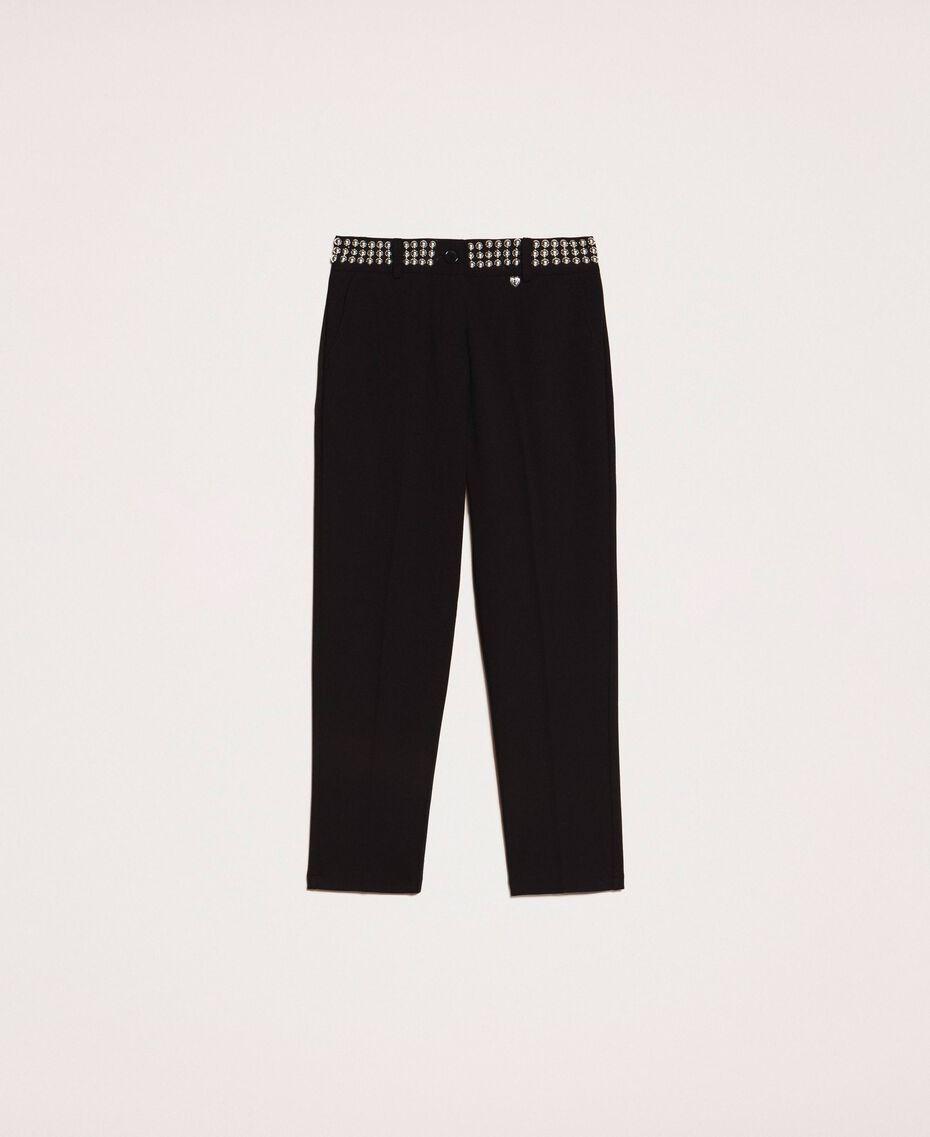 Pantalon cigarette avec clous Noir Femme 201MP2214-0S