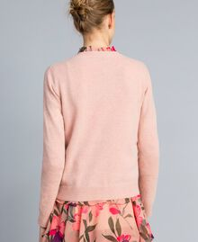 """Wool blend embroidered jumper """"Pale Pink"""" Butterfly Needle Punch Embroidery Woman TA83JD-03"""