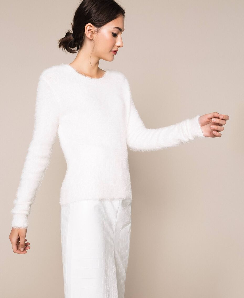 Cárdigan jersey de efecto pelo Negro Mujer 201TP3091-03