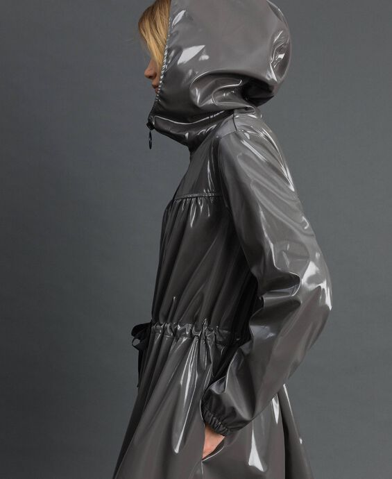 Vinyl effect parka coat with drawstring