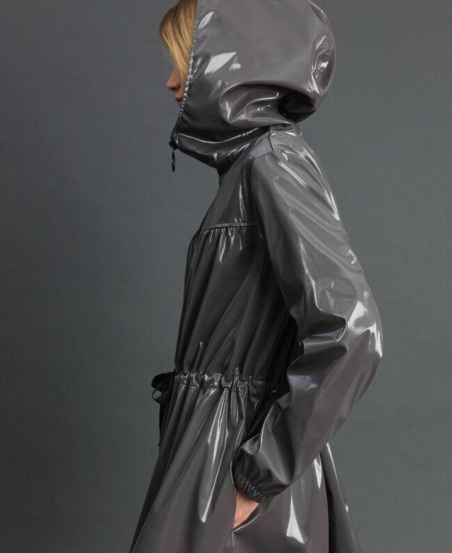 Vinyl effect parka coat with drawstring Lead Grey Woman 192LI2JCC-01