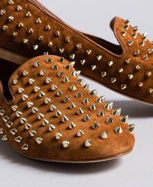 Suede studded slippers Reddish Brown Woman CA8TFJ-01