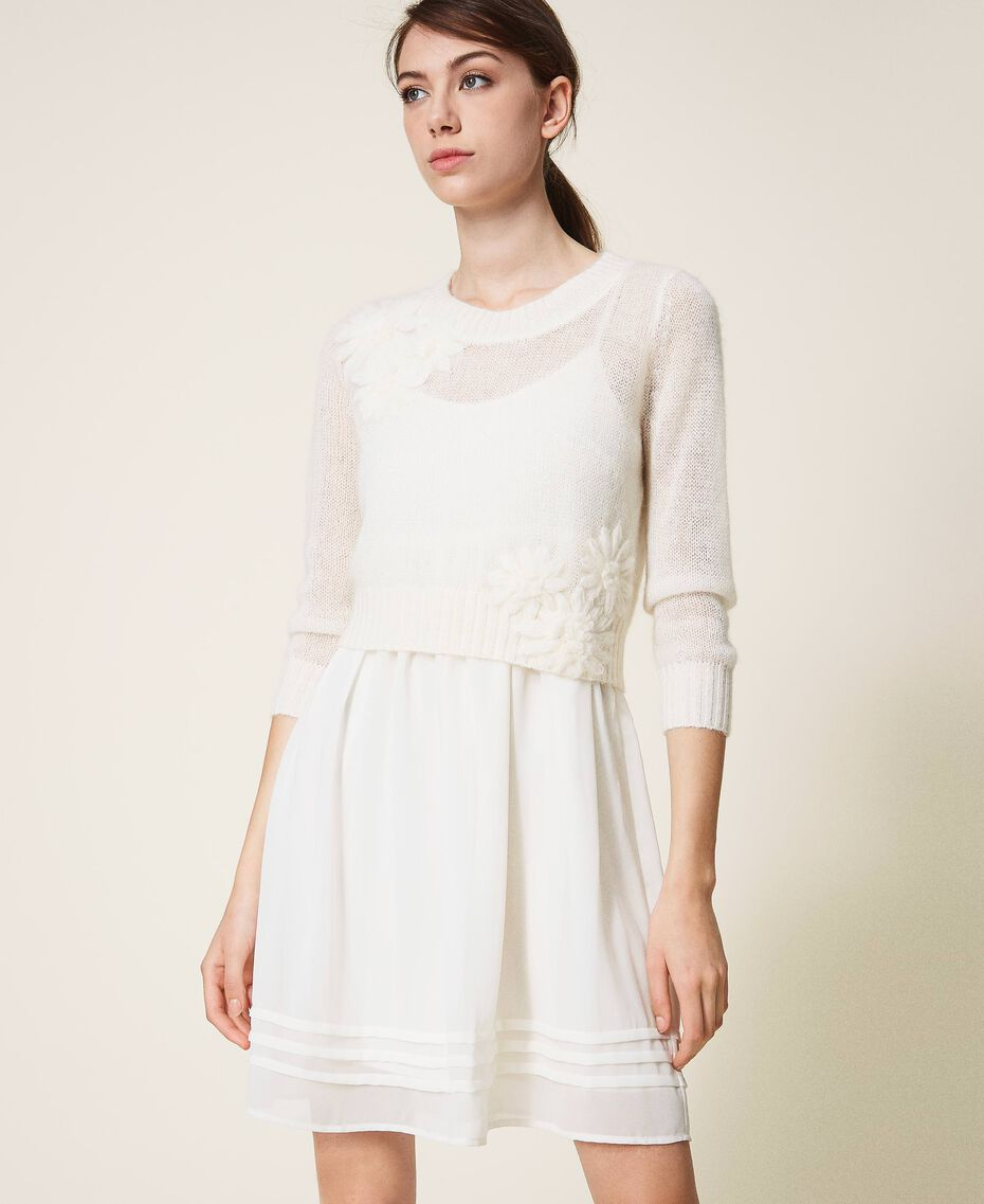 Slip dress and mohair jumper Creamy White Woman 202TP3262-02