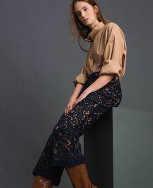 "Macramé lace flared trousers ""Sequoia"" Beige / Night Blue Woman 192ST208D-05"