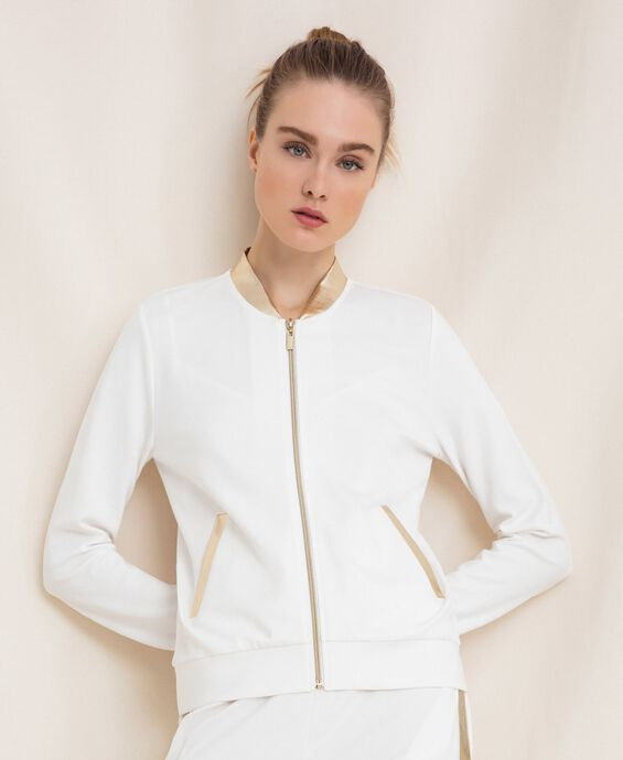 Bomber jacket with laminated faux leather details