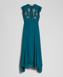 Long georgette dress with floral embroidery Mineral Green Pale Blue Woman 192TP2161-0S