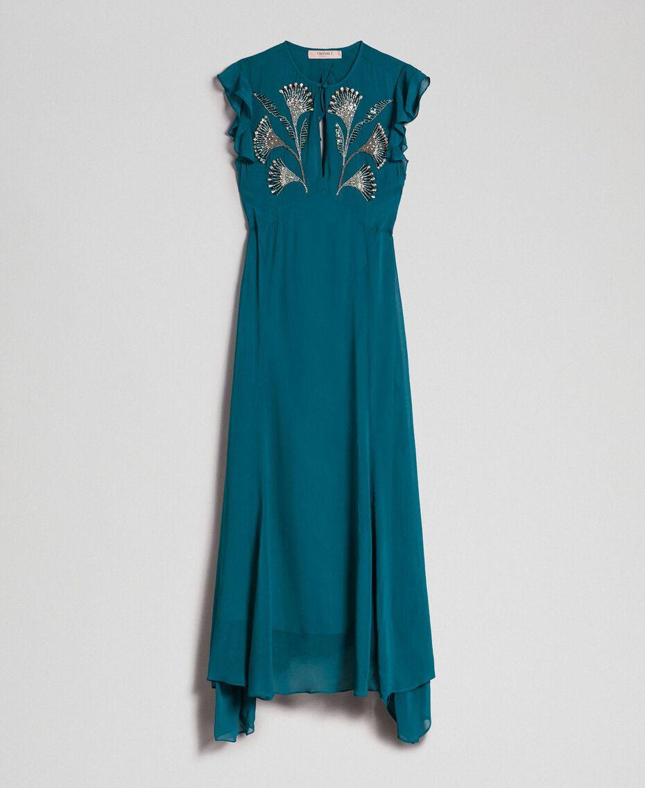 Robe longue en crêpe georgette avec broderies florales Bleu Vert minéral Femme 192TP2161-0S