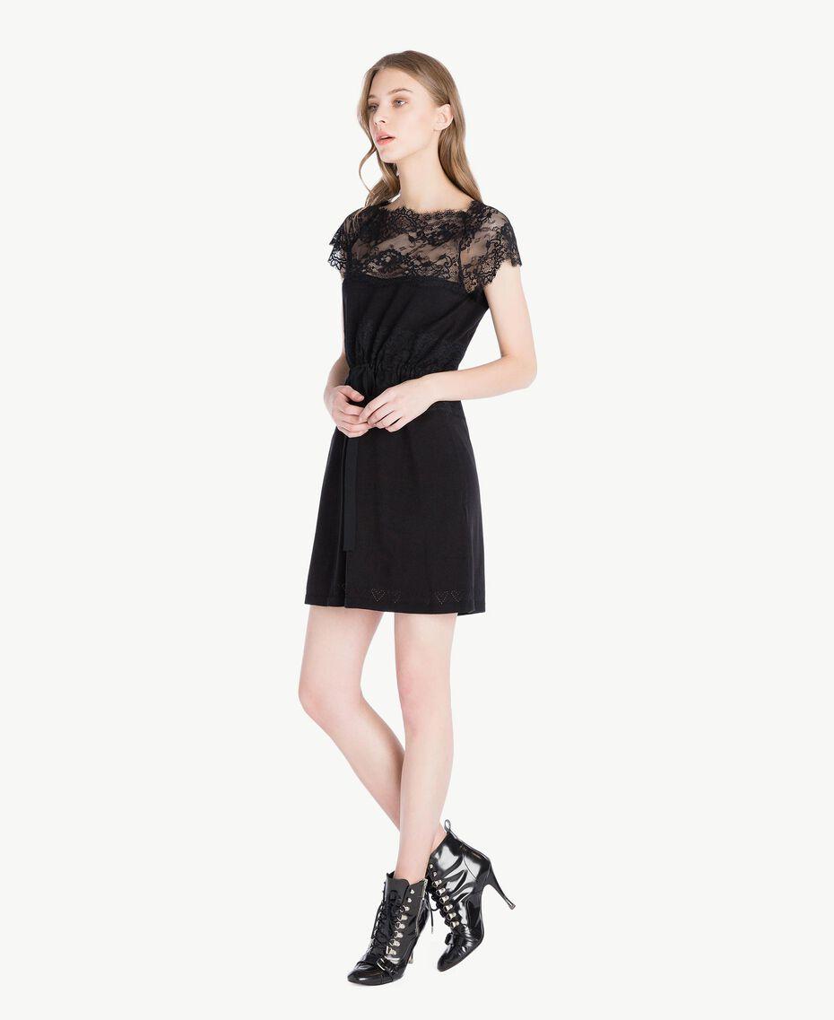 Kleid mit Spitze Schwarz Frau PS83DL-02