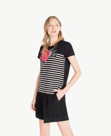 Striped T-shirt Black Woman TS829U-02