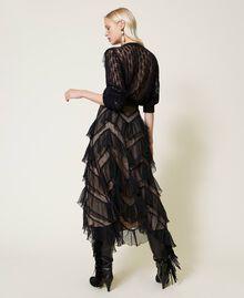 Long tulle skirt with pleated flounces Dark Raspberry Woman 212TP2204-03