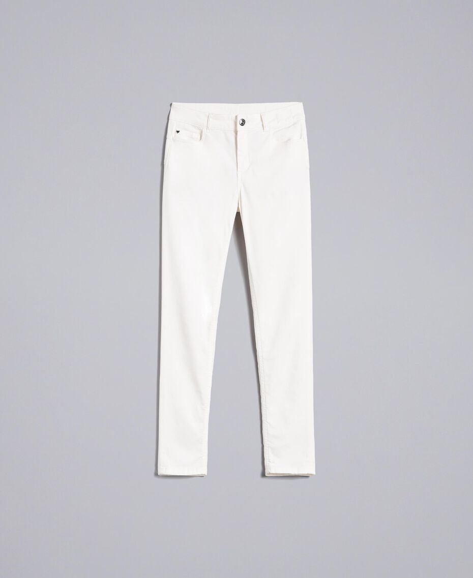 Pantalon skinny en gabardine stretch Nacre Femme JA82W1-0S